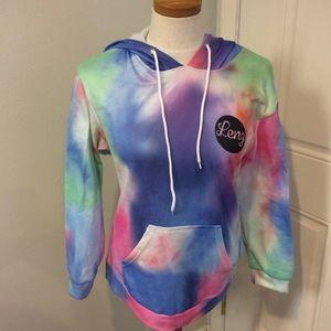 Tie dye hoodie hooded sweatshirt rainbow